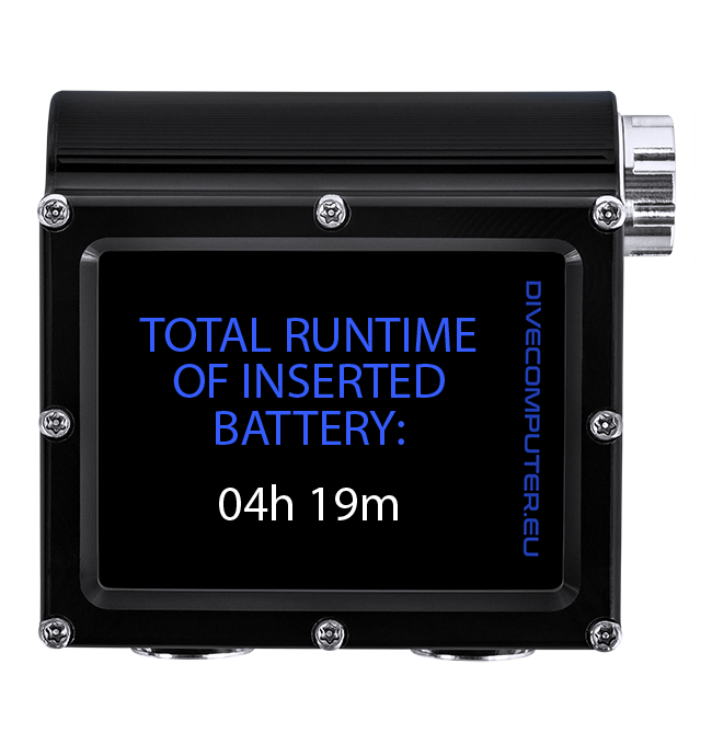 Dive computer -Total runtime of inserted battery