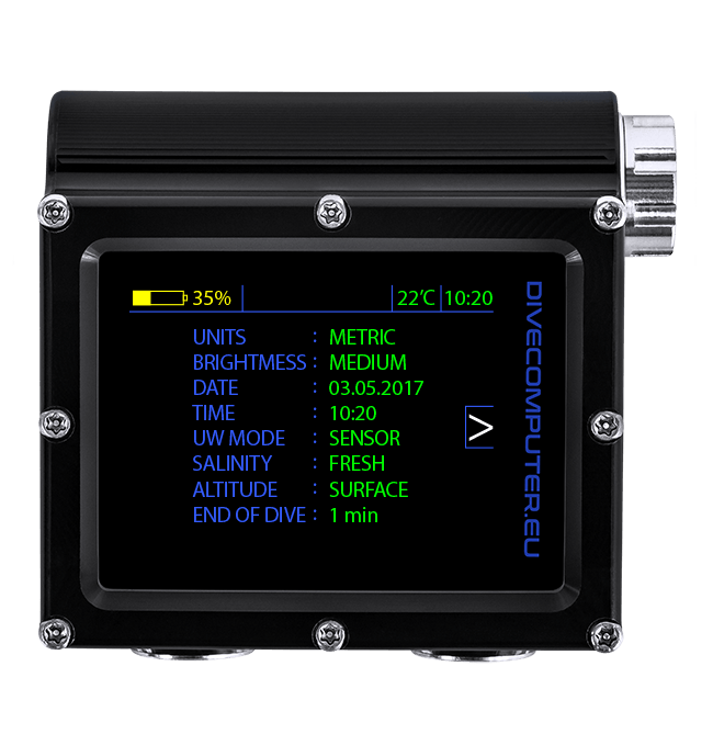 Underwater configuration screen