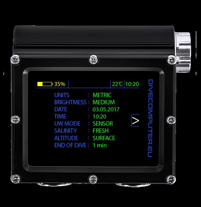 Underwater configuration screen