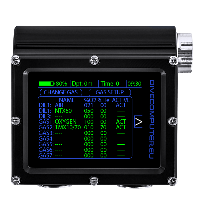 Dive computer - CCR FS mode underwater gas setup screen