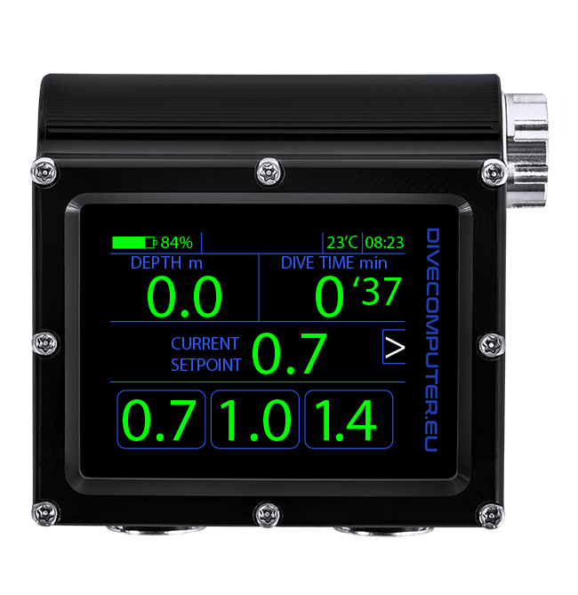 Dive computer - CCR FS mode underwater sSetpoint configuration screen