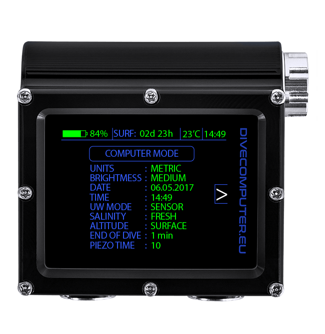 Dive computer - Underwater configuration screen in Extended gauge mode