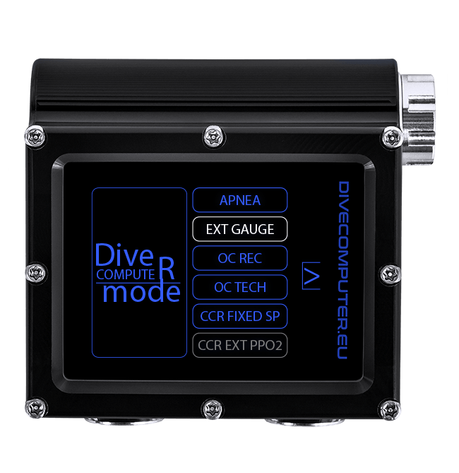 Dive computer - Mode select screen in Extended Gauge mode