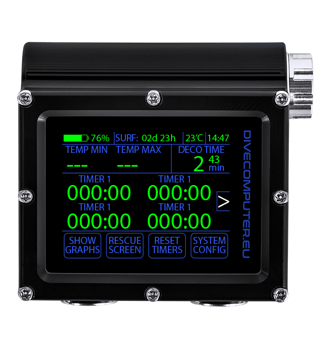 Dive computer - Detailed surface screen in Extended Gauge mode