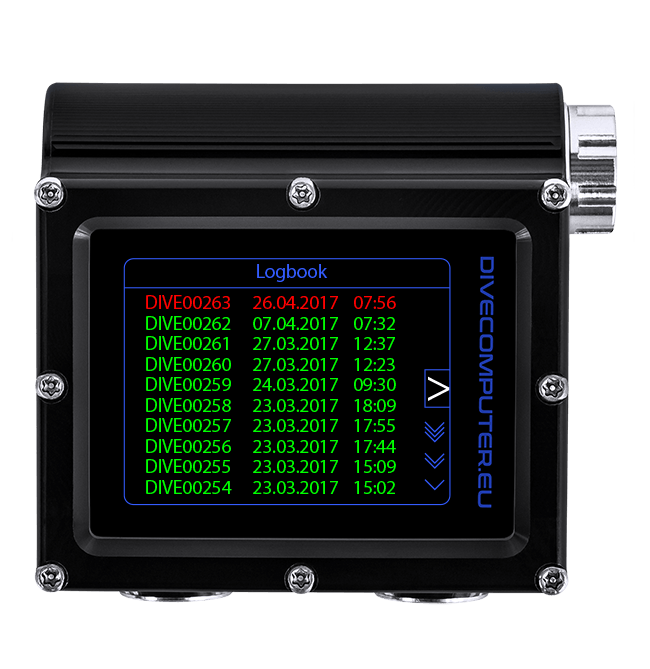 Dive computer - Logbook screen in Extended Gauge mode