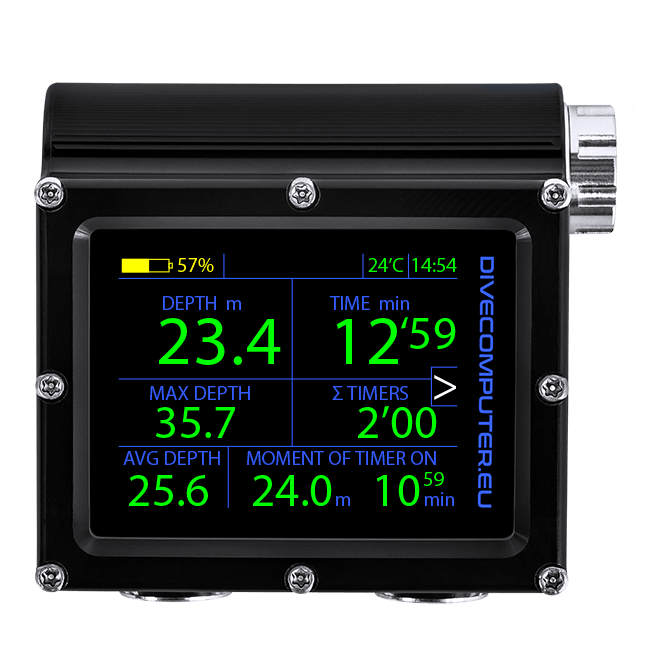 Dive computer - Main underwater screen in Extended gauge mode