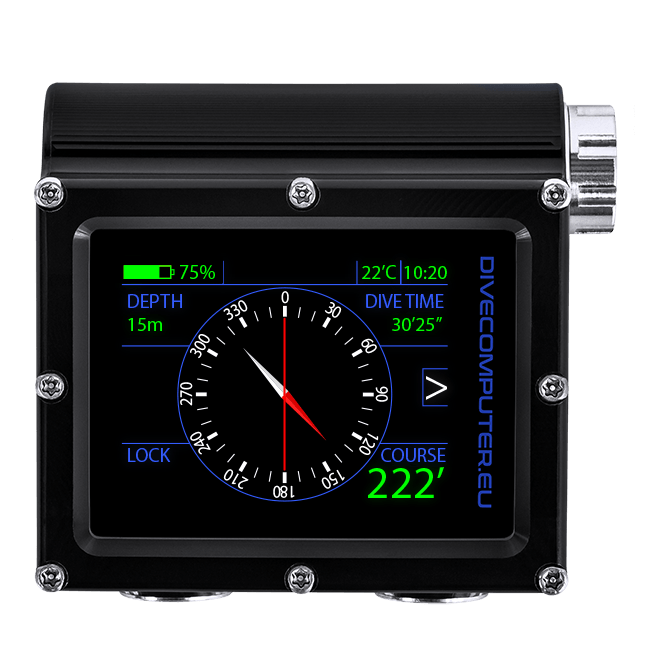 Dive computer - Underwater compass screen in Extended gauge mode