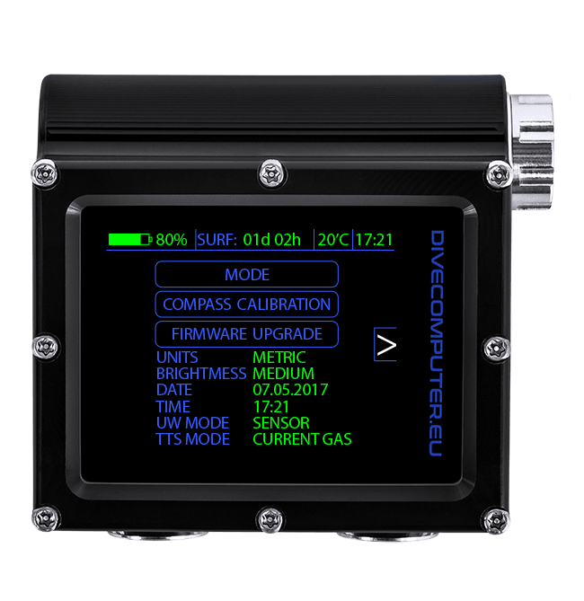 Dive computer - System setup screen in OC TECH mode