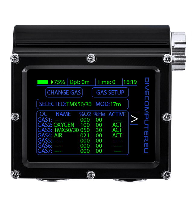 Dive computer - Underwater gas setup screen in OC TECH mode