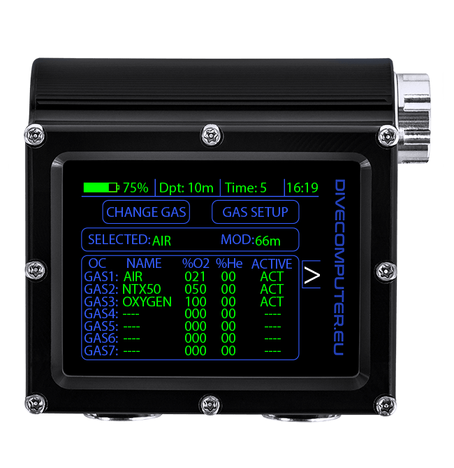 Pure Buhlmann Mode - underwater gas setup screen